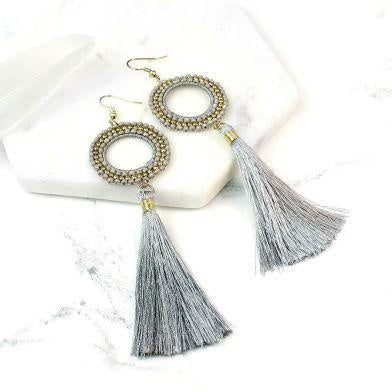 Grey Bead Tassel Earrings
