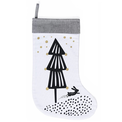Christmas Stocking - Tree on White - Baby & Child - Wee Gallery - TAILOR & FORGE
