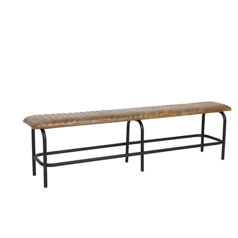Trory Leather Metal Bench - Brown - Furniture - Light & Living - TAILOR & FORGE
