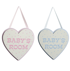 Very cute heart shape sign for baby's room - Boy and Girl. This would make a lovely gift for a Christening, new baby or a best friend! from Tailor & Forge