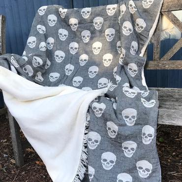 Fleece Backed Skull Throw - Black - Throws - TAILOR & FORGE