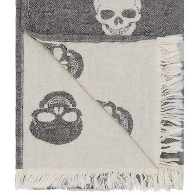 Fleece Backed Skull Throw - Black - Throws - Aliera - TAILOR & FORGE