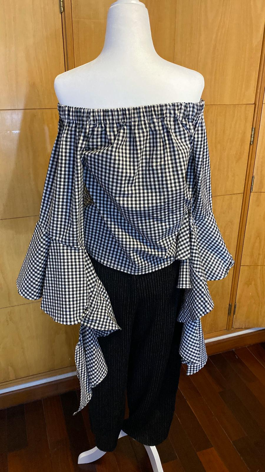 Camisa de Cuadros Off Shoulder