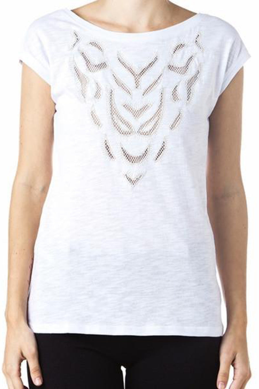 Melao - White T-shirt with Golden Details