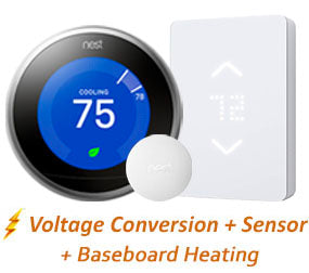 Mysa Thermostat & Nest 3rd Gen w/ Professional Installation + Remote Sensor + 3 Fan Speeds and Baseboard Heating - HEATING & COOLING! (T5)
