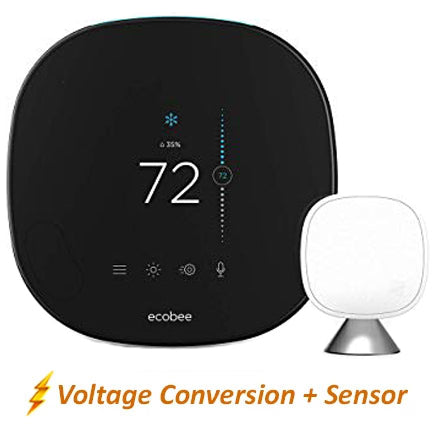 Ecobee Pro Smart Thermostat w/ Professional Installation + 1 Remote Sensor + Up to 3 Fan Speeds Included (T1W)