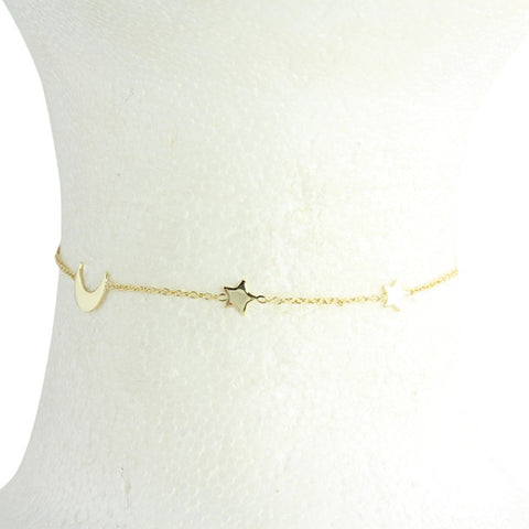 "Sterling silver/gold vermeil moon & stars chain choker 13-15"" - delicate choker gold"
