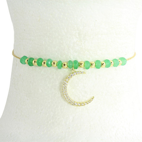 Green onyx beads with hanging pave crescent moon choker made with sterling silver & 14k gold vermeil