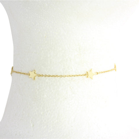 "Sterling silver vermeil 5 star choker 13-15"" with extension"