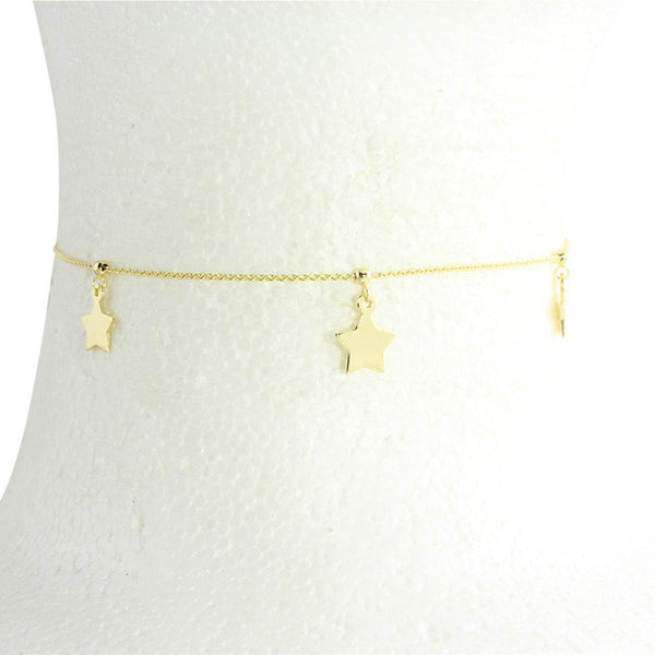 Solid 14k gold drop star choker with adjustable back cord for the perfect fit - summers perfect choker! delicate jewelry