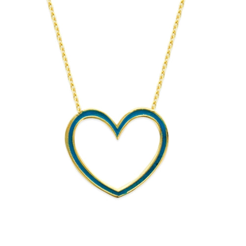 14K BLUE ENAMEL OPEN HEART NECKLACE