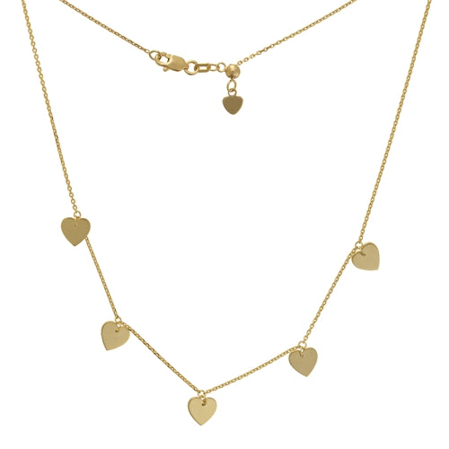 14K 5 DANGLE HEARTS CHOKER