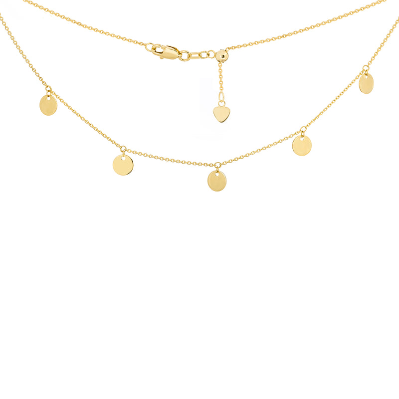 14K 5 DANGLE MINI DISC CHOKER