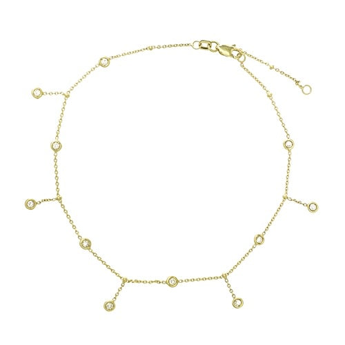 14K DANGLE CZ ANKLET