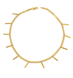 14K STATION STAPLE ANKLET