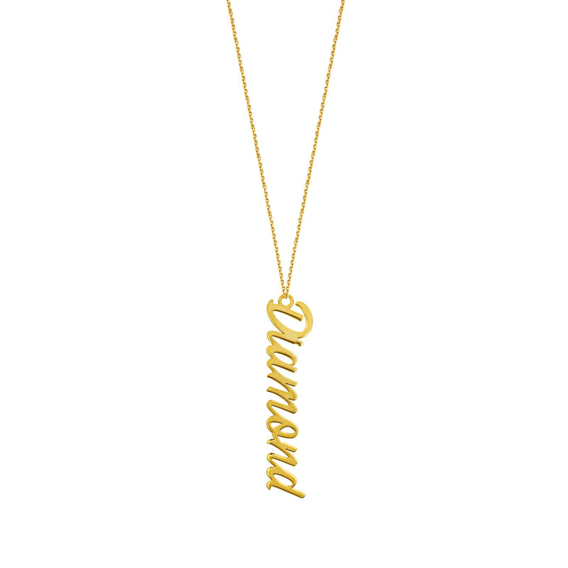 14K VERTICAL SCRIPT NAMEPLATE NECKLACE