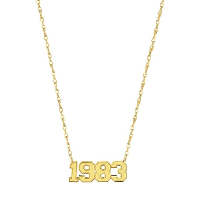 gold varsity year necklace