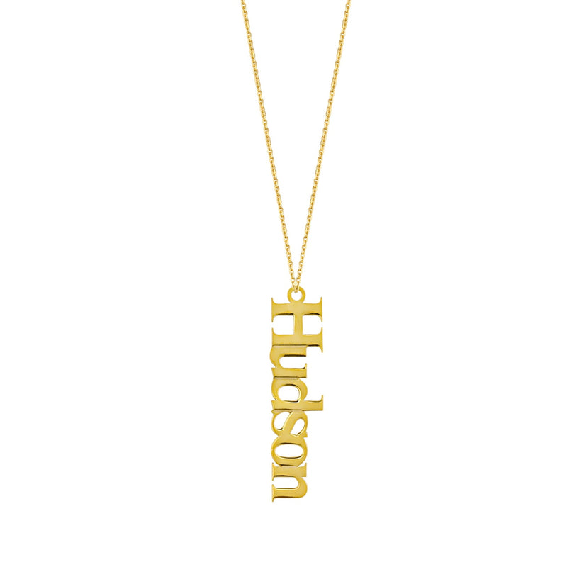 14K VERTICAL NAMEPLATE NECKLACE
