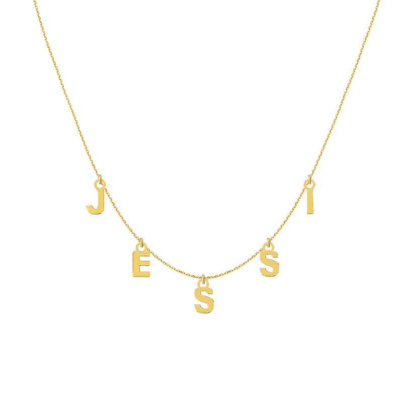 14K BLOCK HANGING NAME NECKLACE