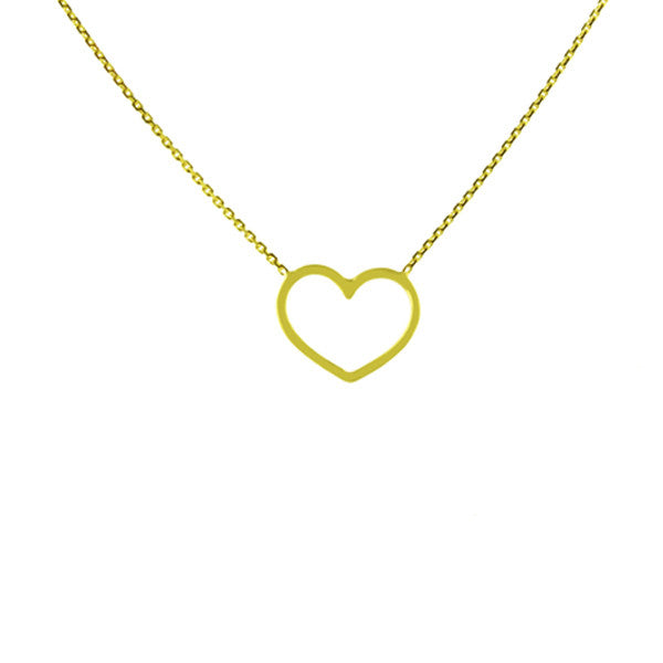 14K GOLD CUTOUT HEART NECKLACE - adammarcjewels