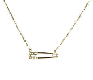 "Sterling silver with vermeil gold, safety pin necklace with cz pave on 16-18"" adjustable chain"