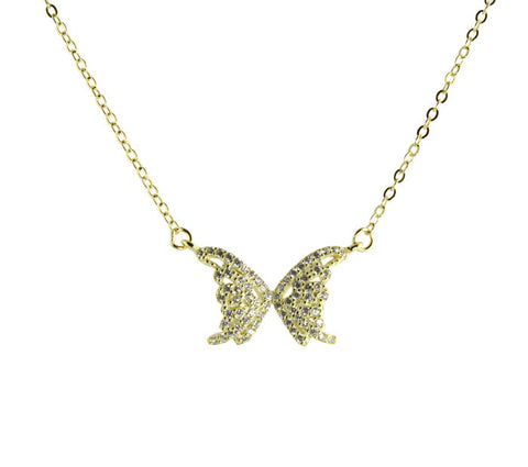 "Sterling silver with vermeil mini pave gold butterfly necklace on 16-18"" adjustable chain"