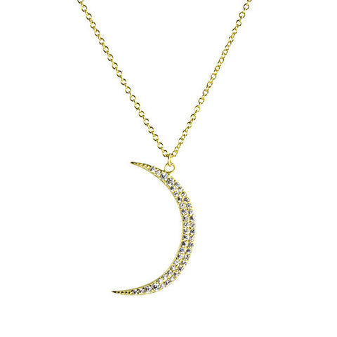 "Sterling silver crescent moon with pave cz on 16-18"" adjustable chain"