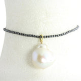 "Spinnel onyx choker with drop baroque pearl 13-15"" with extension"