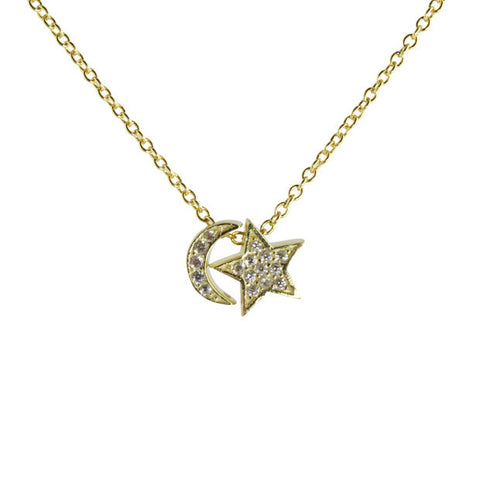"Sterling silver mini sliding star & moon necklace on 16-18"" adjustable chain"