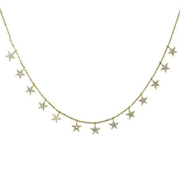 HANGING PAVE STARS NECKLACE - adammarcjewels
