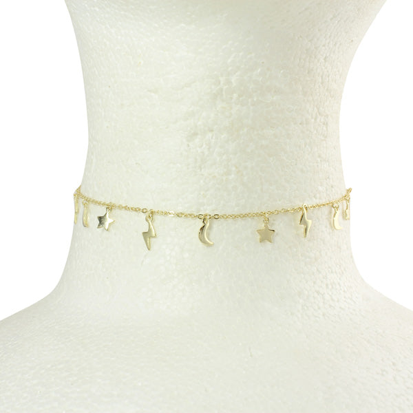 gold charms choker