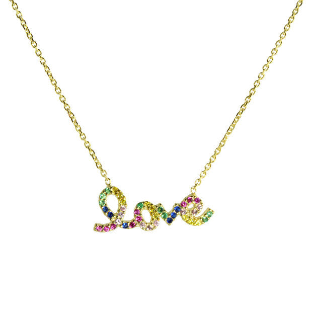 colored stones love necklace