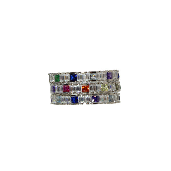 SQUARE STONE MULTICOLOR RING SET