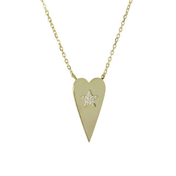 gold heart with star necklace