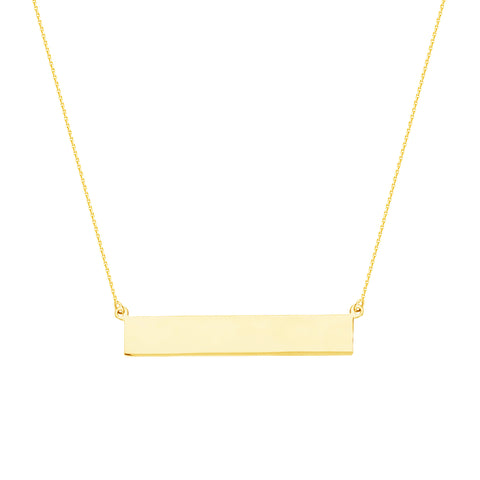"14k Solid gold classic 1.5"" in length bar necklace on 16-18"" adjustable chain.  Free engraving"
