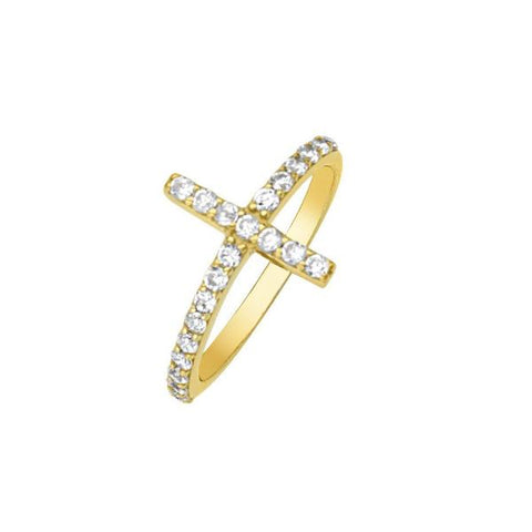 SIDWAYS CZ CROSS RING