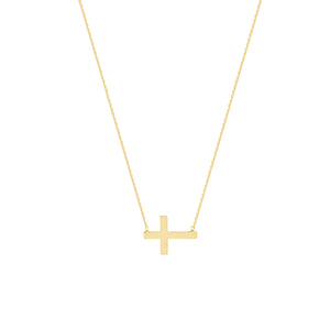 14K GOLD SIDEWAYS CROSS