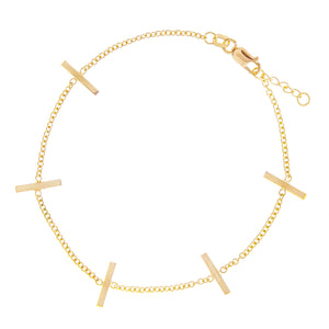 14K STAPLE STATION BRACELET