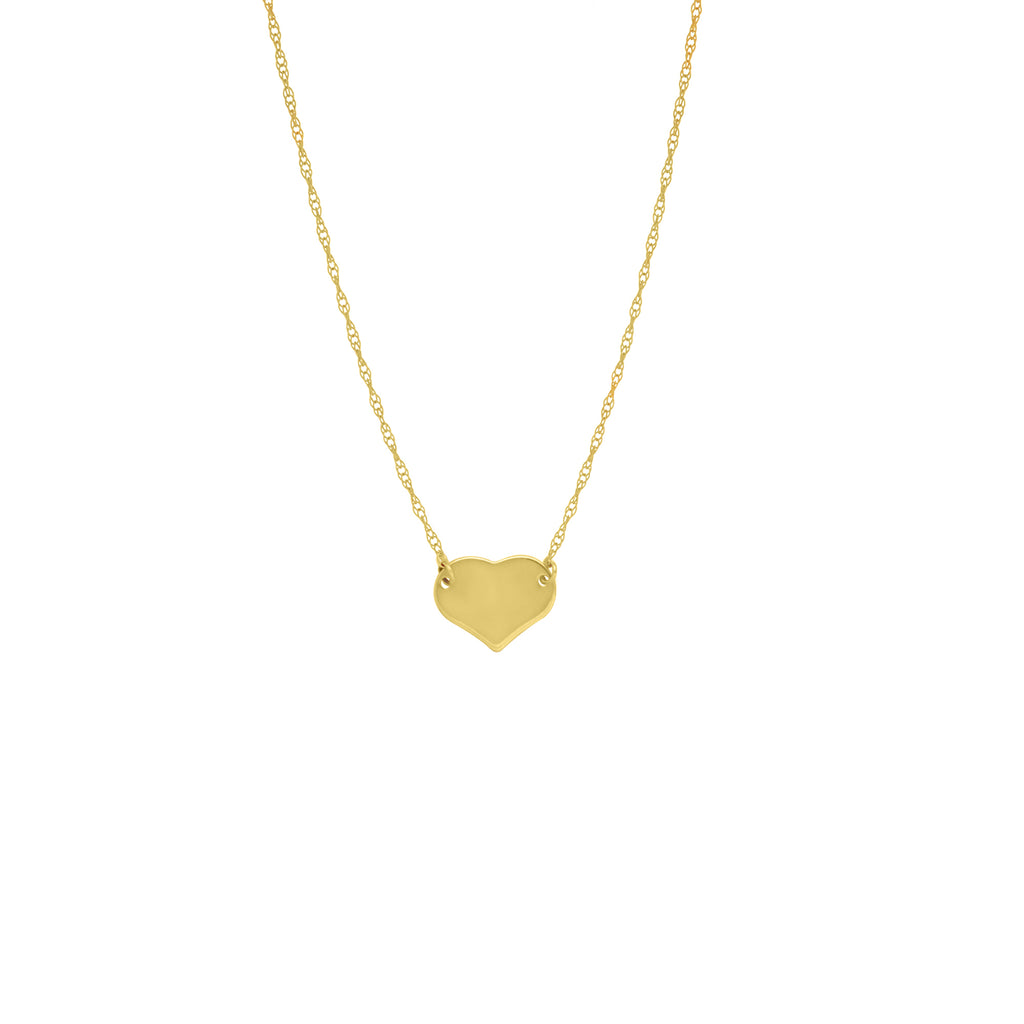 14K SMALL FLAT GOLD HEART NECKLACE