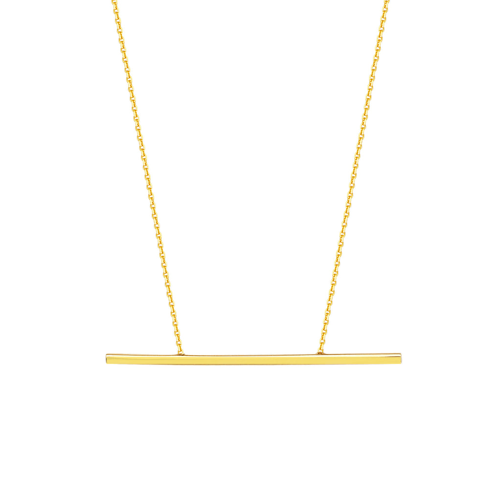 14K THIN GOLD STICK BAR NECKLACE - adammarcjewels