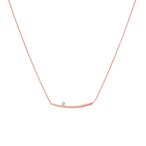 14K CURVED BAR & DIAMOND NECKLACE - adammarcjewels