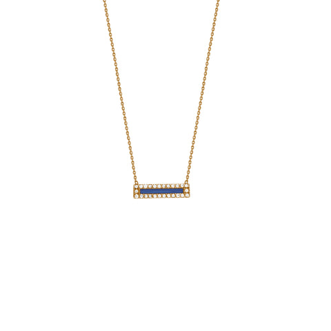 "14k Solid gold 16-18"" adjustable necklace with turquoise enamel center & cz halo"