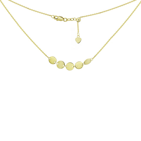 14k gold 5 mini disc choker with adjustable cord for perfect fit.