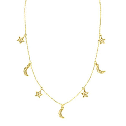 gold diamond moon & star necklace