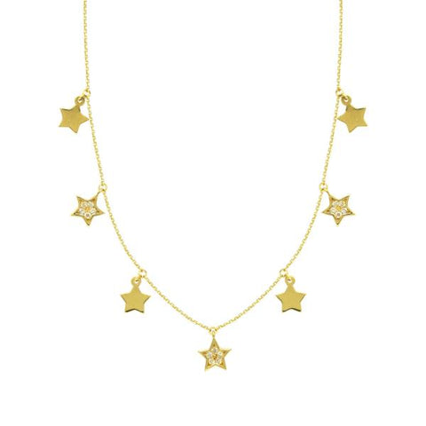 gold diamond stars necklace