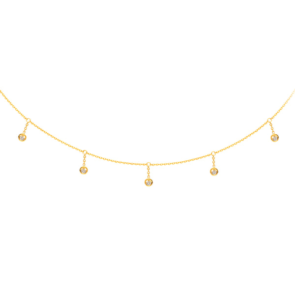 HANGING DIAMONDS CHOKER 14K - adammarcjewels