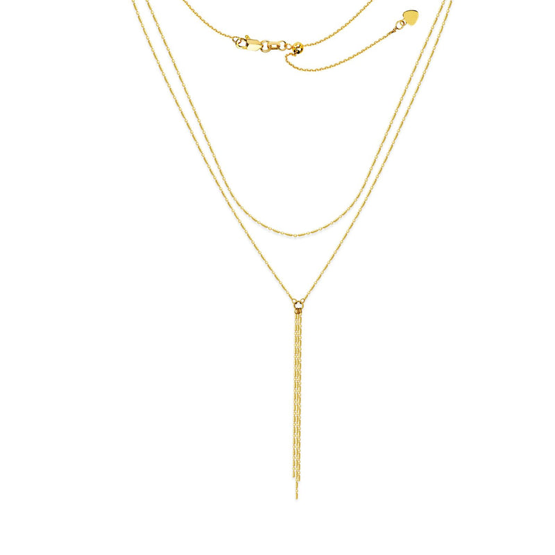 GOLD DOUBLE CHAIN LARIAT 14K - adammarcjewels