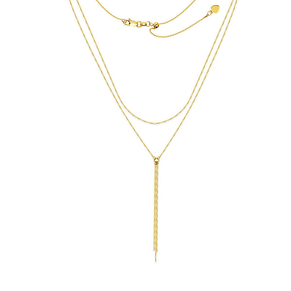 GOLD DOUBLE CHAIN LARIAT - adammarcjewels