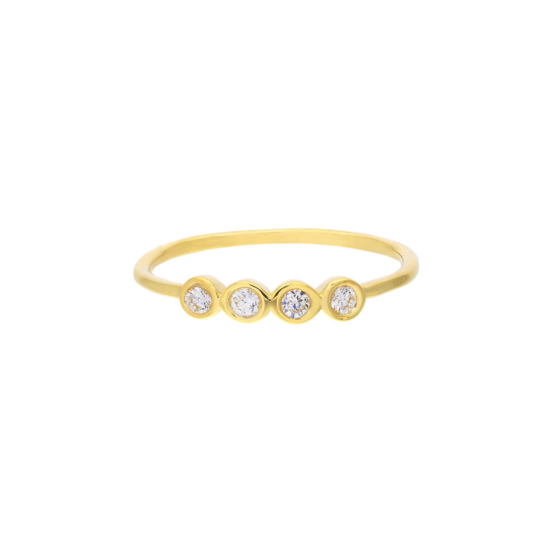 14K GOLD 4 DIAMOND BEZEL RING