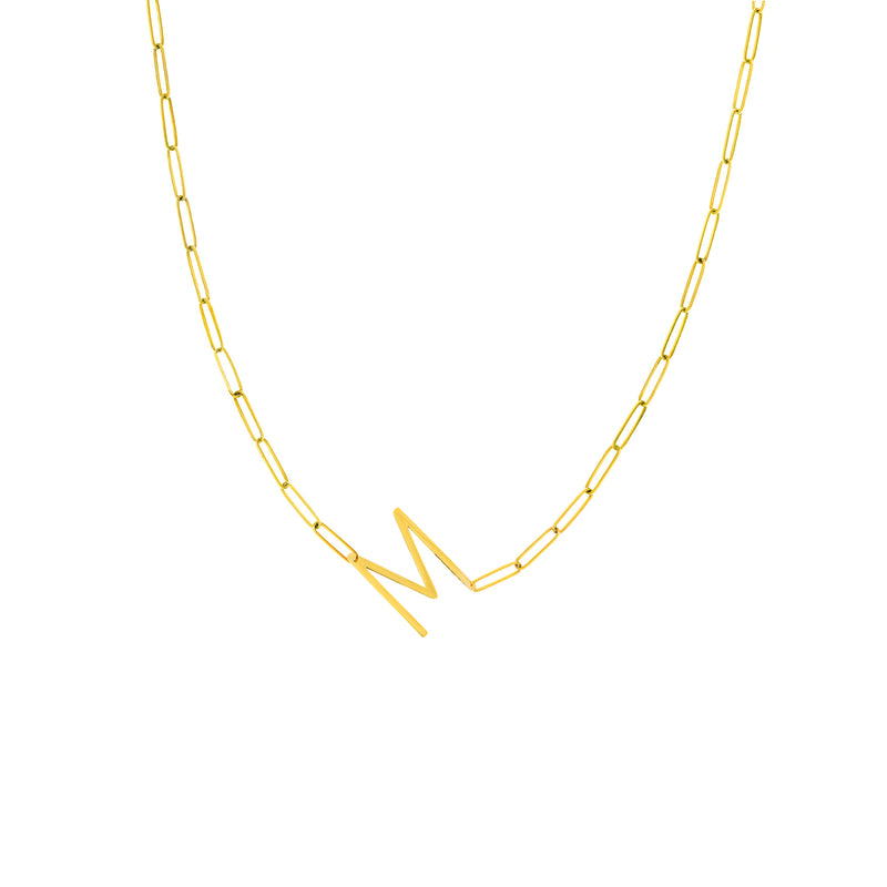 14K GOLD LONG INITIAL PAPERCLIP NECKLACE
